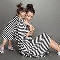 Nueva llegada de La Madre y Los Niños Vestidos de Algodón Casual Vestidos de Rayas