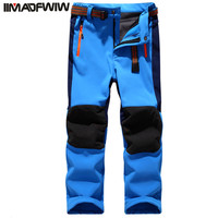 Autumn Winter Children Patchwork Casual Zipper Pants Fleece Keep Warm Trousers Kids Boys Girls Sport Pants