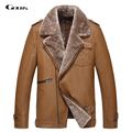 Gours Winter Men's Genuine Leather Jackets Brand Clothing Black Cowskin Jacket and Coat with Wool Turn-down Collar 2016 New 4XL
