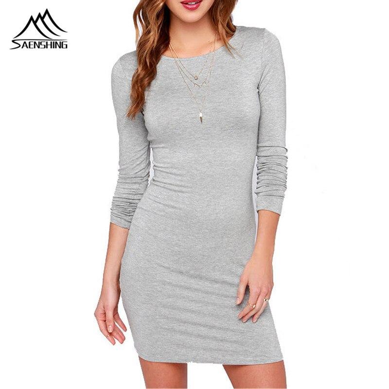 8000181da508 Vestidos 2016 Automne Sexy coton tricoté Club dress Casual O-cou solide  couleur Noir et gris À Manches Longues Automne Robes Plus taille