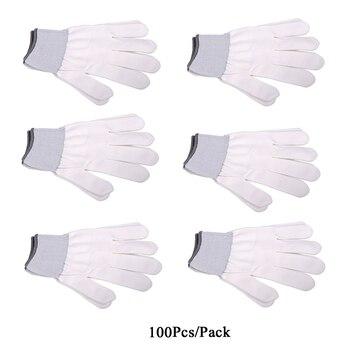 EHDIS 100 Pair Nylon Vinyl Film Car Wrap Gloves White Anti-slip Safety Protective Working Gloves Window Tint Car Wrap Work Tools