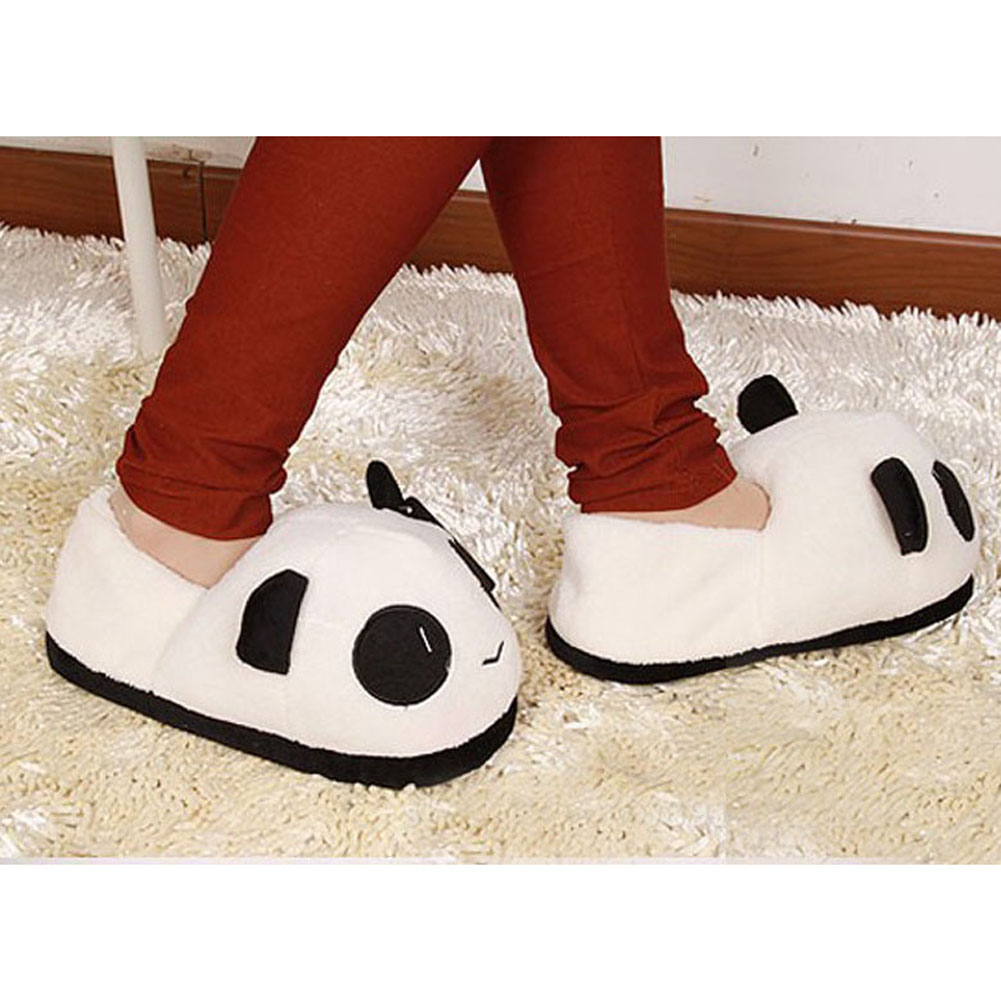 Indoor Winter Panda Slippers Flat Furry Home Cartoon Animal With Fur Shoes House Women Plush Anime Unisex Cosplay cute flat indoor winter flock cartoon slippers unisex adult fluffy house warm home animal women cosplay bow plush mules shoes