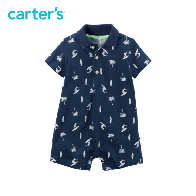 5603bb53dbd6 1pcs Short sleeves cotton handsome surf print Polo Romper Carter s ...