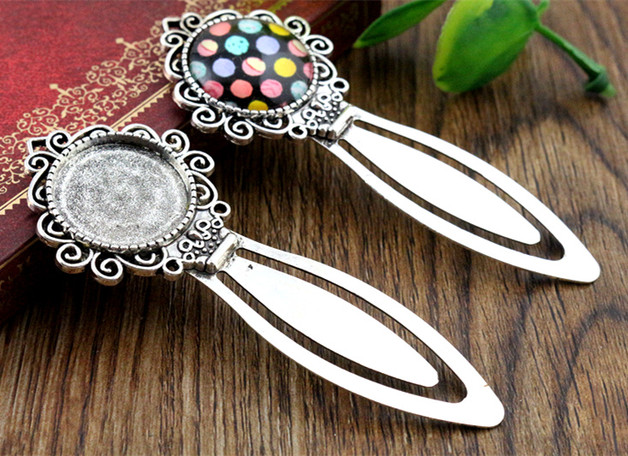 New Fashion 2pcs 20mm Inner Size Antique Silver Simple Style Handmade Bookmark Cabochon Base  Cameo Setting (I1-24)New Fashion 2pcs 20mm Inner Size Antique Silver Simple Style Handmade Bookmark Cabochon Base  Cameo Setting (I1-24)