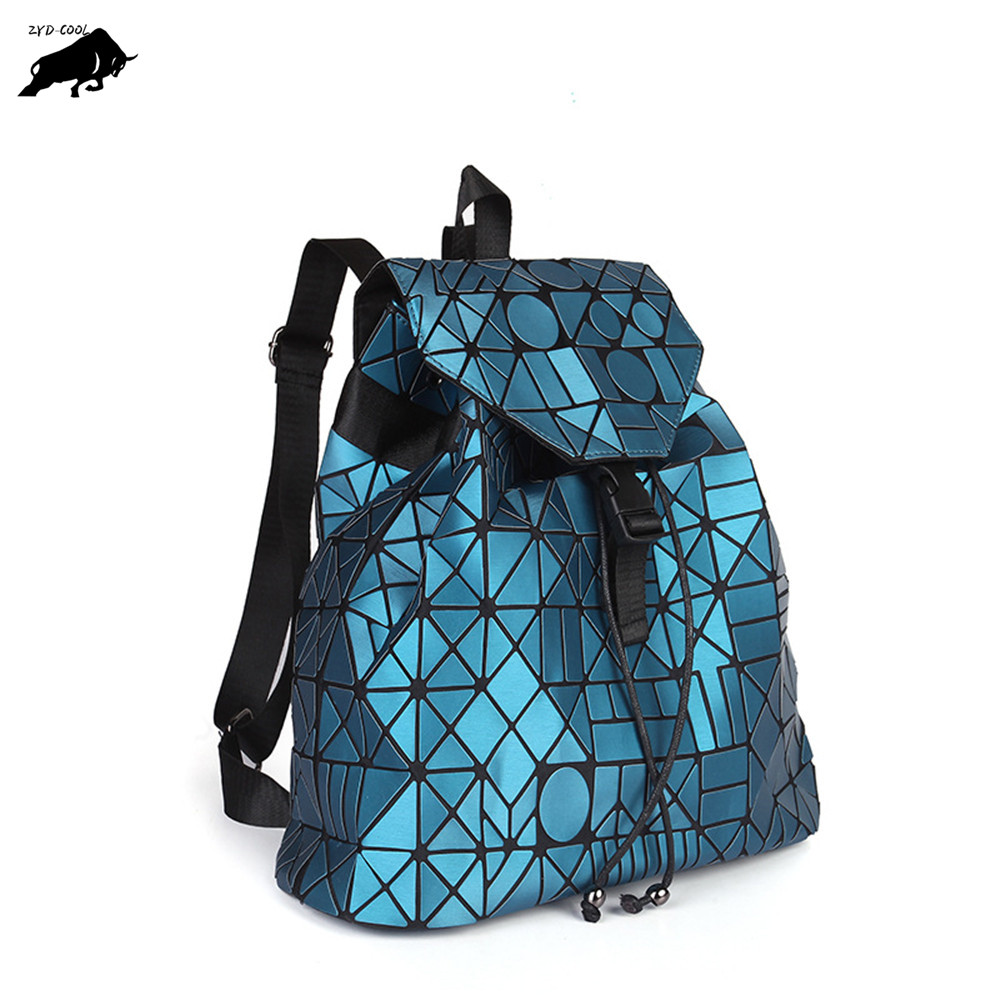 ZYD COOL Fashion Female Backpack Women Geometric Plaid Folding Holographic Drawstring Backpack School Student Bag Travel