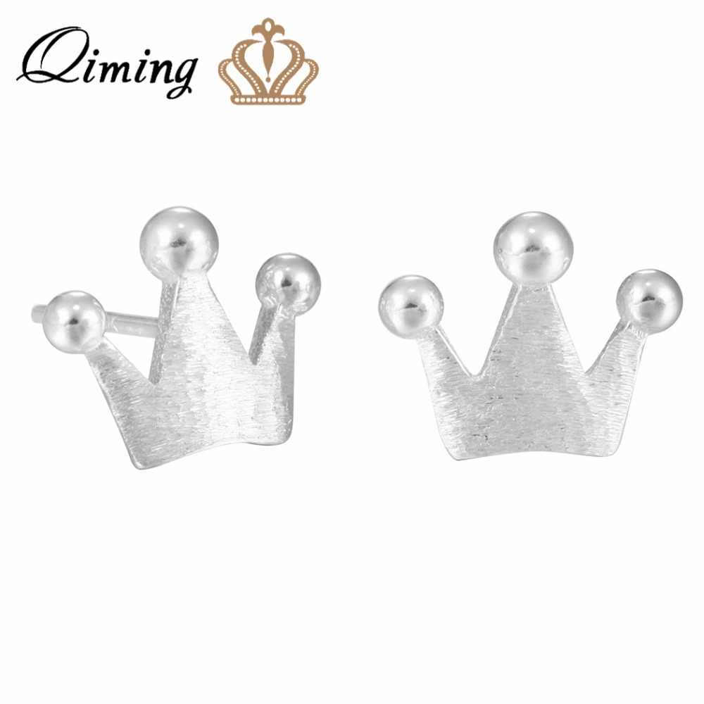 0b8685cce QIMING Lovely Girls Baby 925 Jewelry Silver Princess Stud Earrings Cute  Charm Women Fine Jewelry Nice