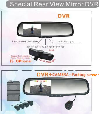 4 3 Inch TFT LCD Car Special Bracket Rear View Mirror DVR Monitor mini Camera 4