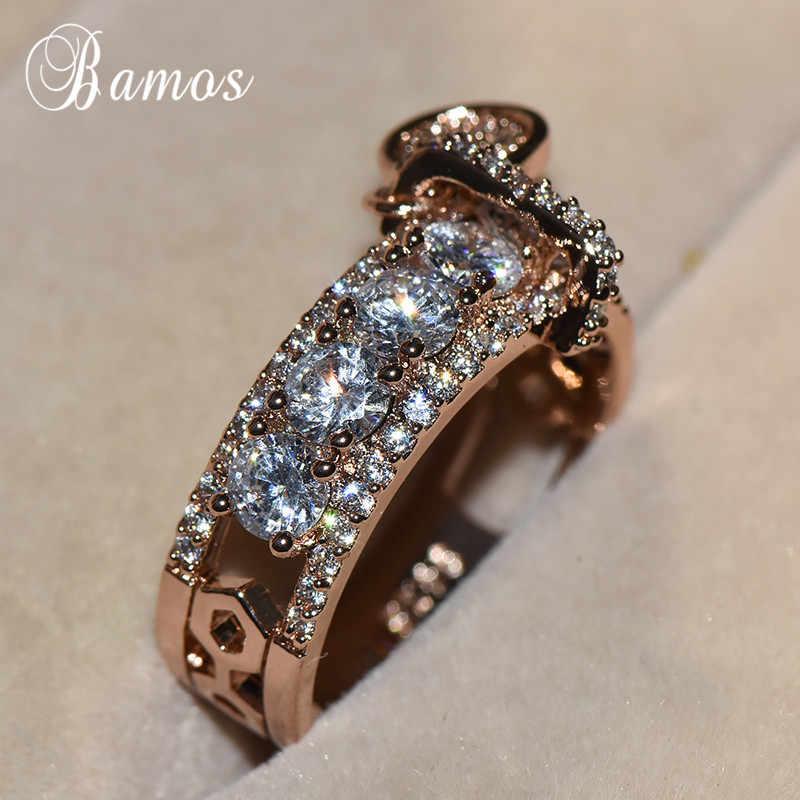 Bamos luxe blanc Zircon bague de fiançailles Vintage or Rose rempli anneaux de mariage pour les femmes bijoux de mode 2018 nouveauté