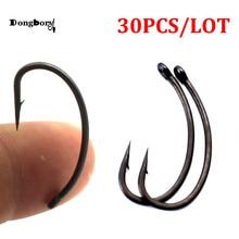 30PCS Coated Carp Fishing Hooks High Carbon Steel Fishhooks Matt Black Barbed Curve Shank Gripper Style Sharp Carp Hooks