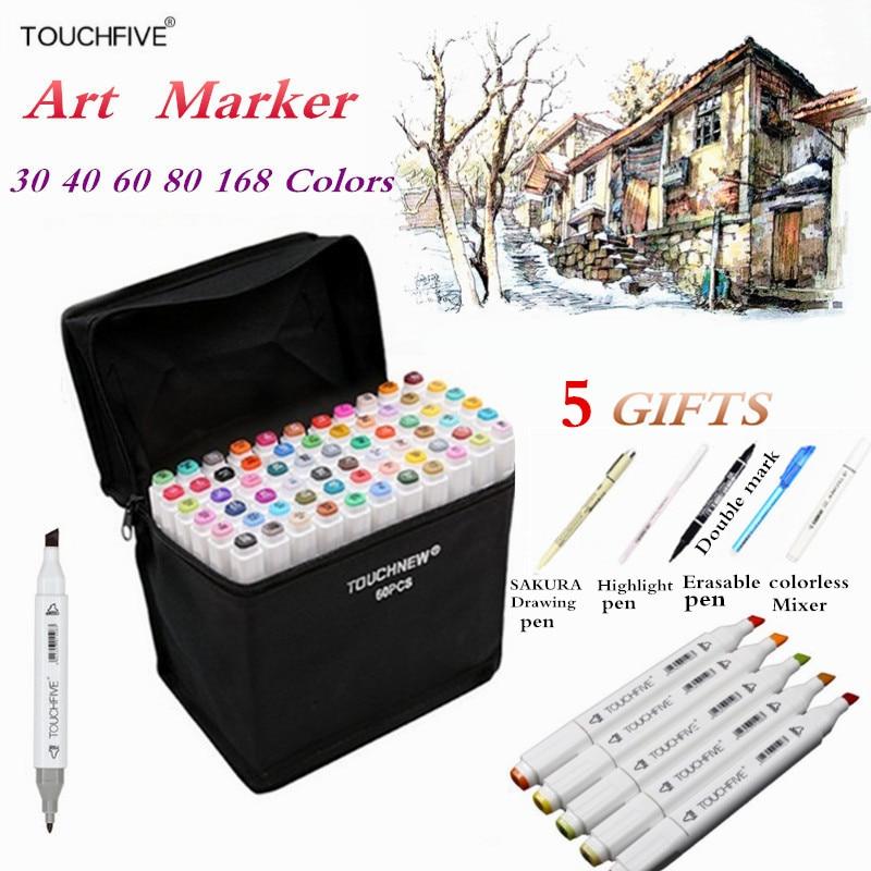 Touchfive 30/40/60/80 cores marcadores de arte conjunto dupla cabeça álcool esboço marcadores caneta para manga desenho marcadores design suprimentos