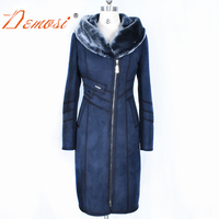 Прямая поставка с фабрики женские пальто одежда длинный тонкий с капюшоном толстый теплый зимний замшевый плюшевый жакет искусственный ме