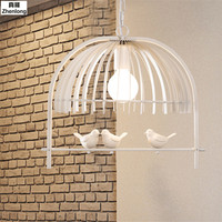Creative Bedroom Dining Room Restaurant Corridor Lamp Personality American Bird Cage Chandelier Mediterranean Bird Droplight