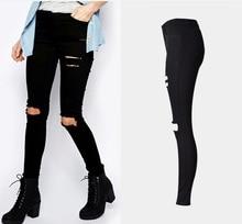 2016 New Arrivals Autumn Winter Women's High Waist Black Ripped Pencil Jeans Boyfriend Denim Pants Vaqueros Mujer H2