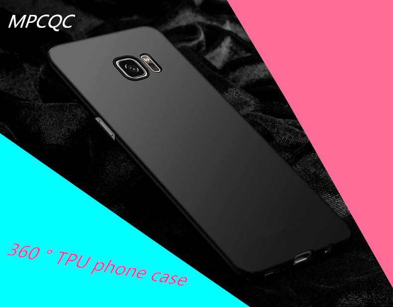 MPCQC Phone Case For Samsung Galaxy S7 TPU Soft Silicone Black Luxury Cover Ultra Thin Phone Bag Case For Samsung Galaxy S7