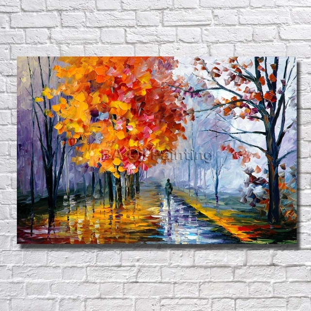 Atfart Living Room Hall Wall Art Handmade Landscape Oil: BA Oil Painting Hand Painted Big Size High Quality Tree