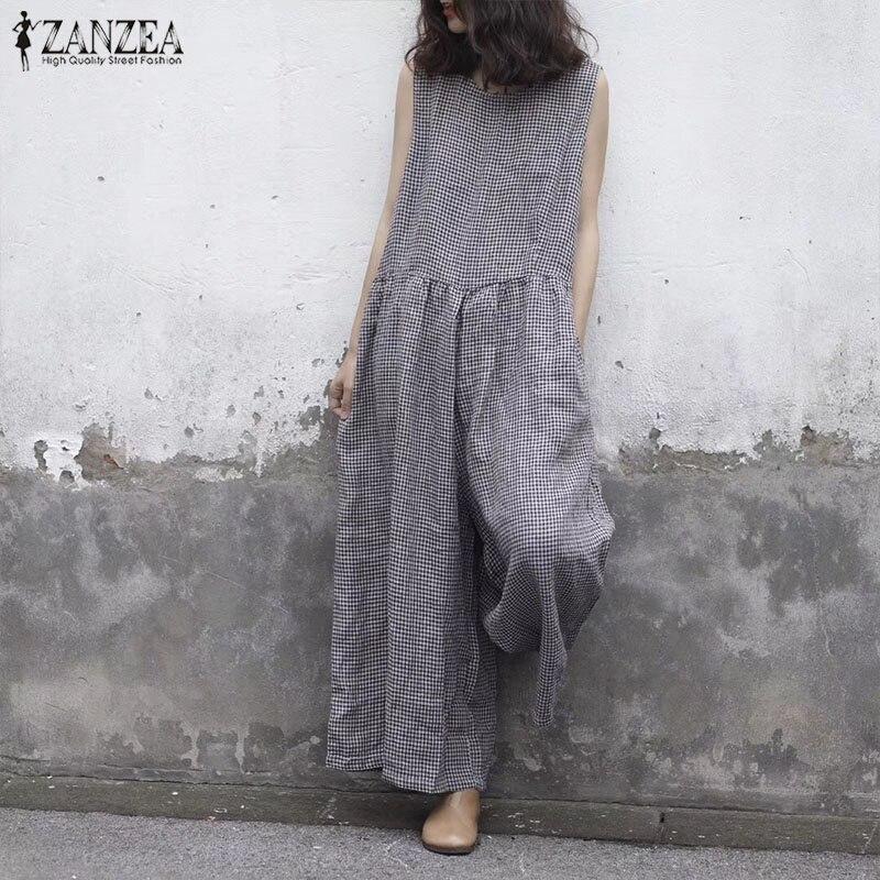 ZANZEA 2019 Summer Wide Leg Pants Women Sleeveless Tank Jumpsuit Plaid Overalls Vintage Causal Pleated Female Pantalon Playsuits