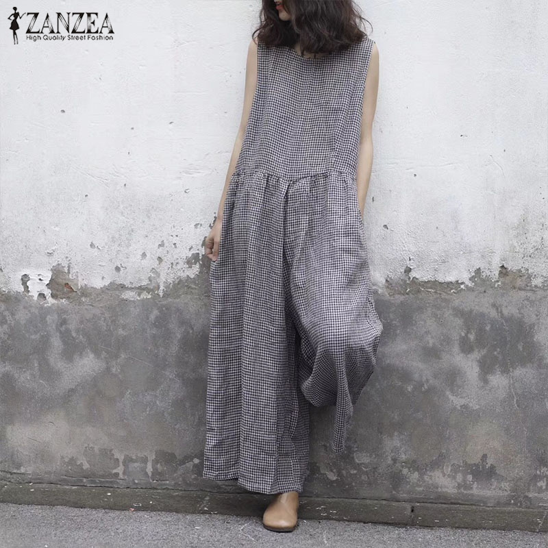 ZANZEA 2019 Summer Wide Leg Pants Women Sleeveless Tank   Jumpsuit   Plaid Overalls Vintage Causal Pleated Female Pantalon Playsuits