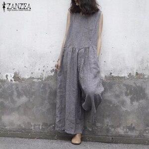 ZANZEA 2020 Summer Wide Leg Pants Women Sleeveless Tank Jumpsuit Plaid Overalls Vintage Causal Pleated Female Pantalon Playsuits(China)