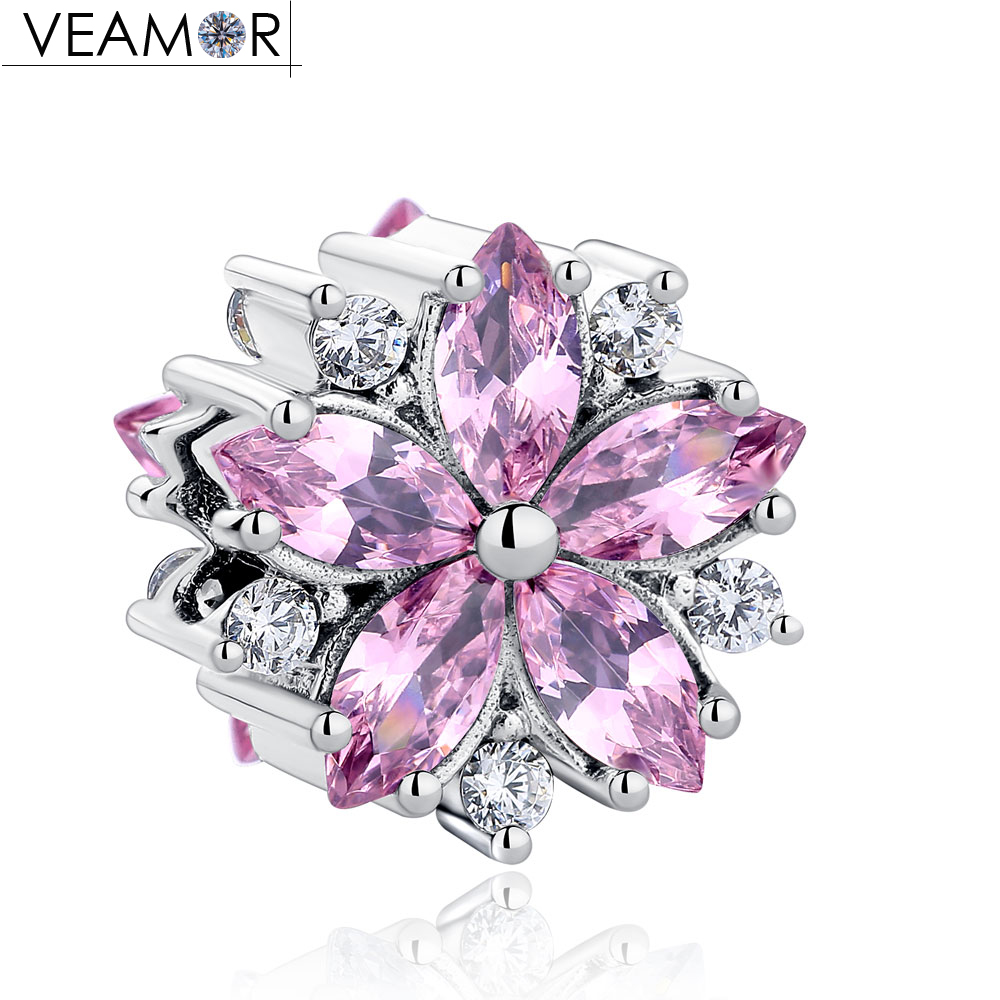 VEAMOR Fit Pandora Bracelets Purple/Pink/Clear CZ Flowers Charms Original 925 Sterling Silver Charm Beads For Women DIY Jewelry