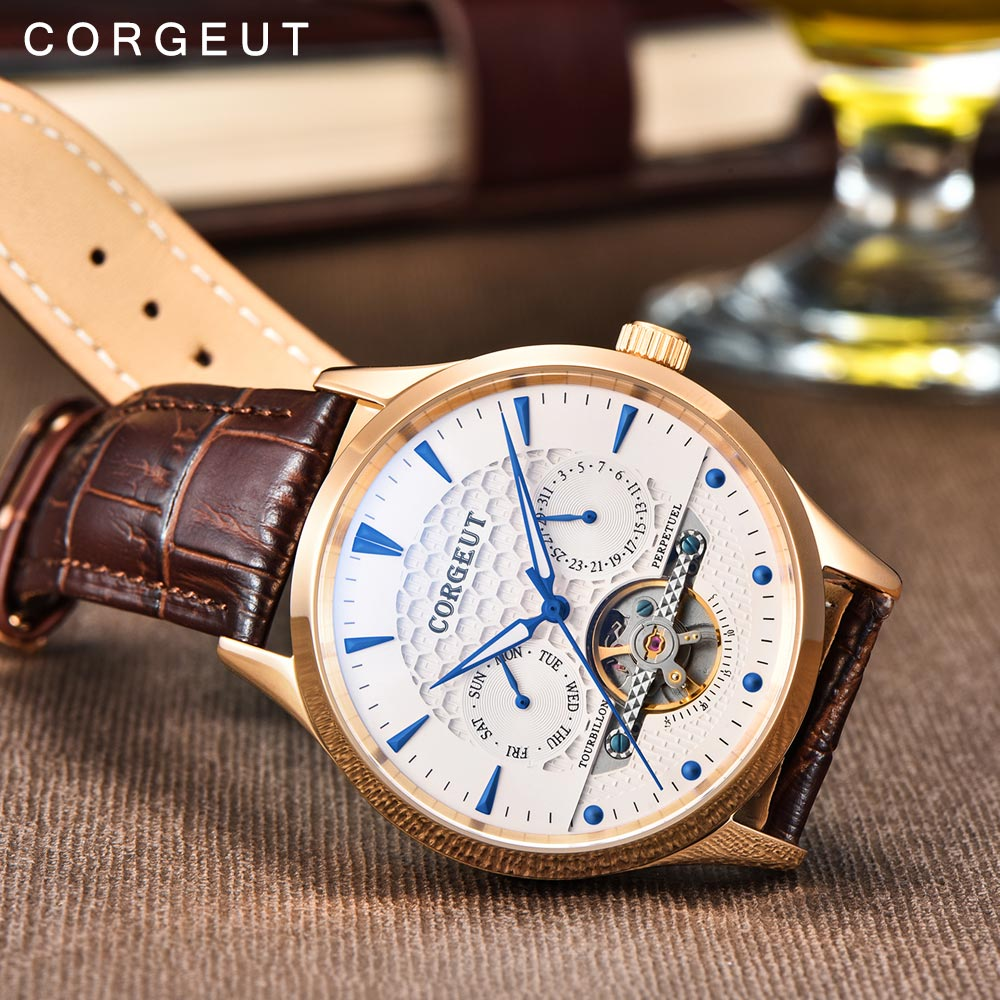 Corgeut Skeleton Mechanical Automatic Watch Men Sport Top Luxury Brand Moon Phase Watches Rose Gold Leather Hombre Wrist WatchesCorgeut Skeleton Mechanical Automatic Watch Men Sport Top Luxury Brand Moon Phase Watches Rose Gold Leather Hombre Wrist Watches
