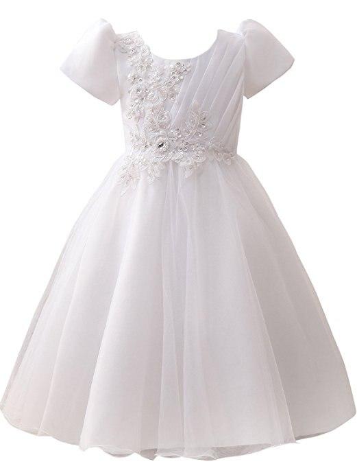 2018   Flower     Girl     Dresses   Cap Sleeve Full Length White Holy Communion   Dresses