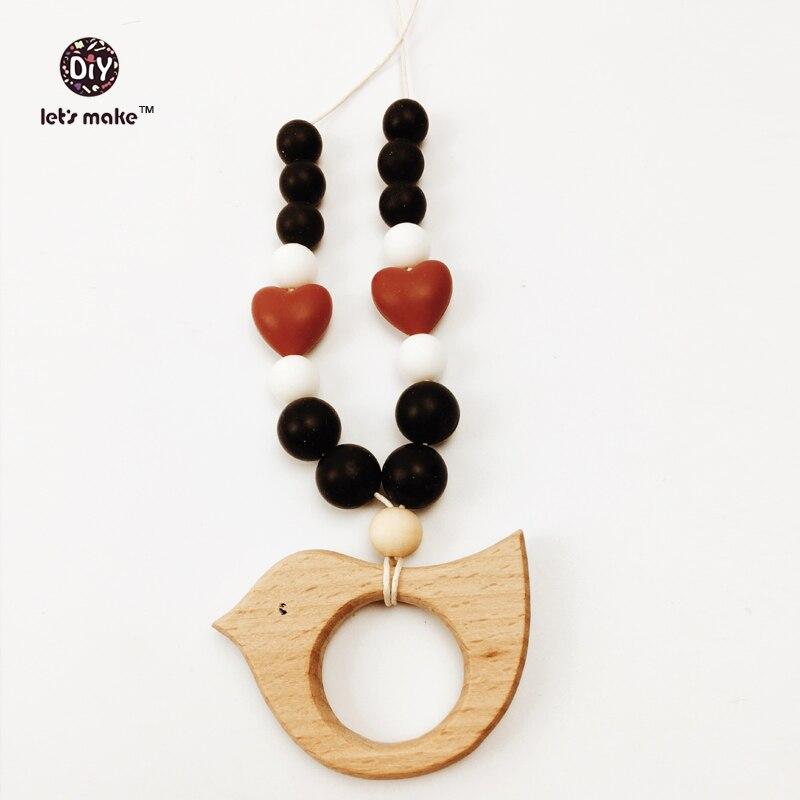 Let's make Wood Bird Wood Bead Teething Necklace Baby Mom Kids Wooden Waldorf Teether Heart Turquoise Custom Rybka Drewniana