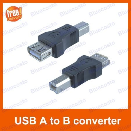2pcs USB Type A Female to Type B Printer Port Male Converter Adapter,Free Shipping