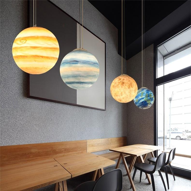 Image 3 - Nordic Creative Universe Planet Acrylic Pendant Light Moon Sun Earth Mars Uranus Mercury bedroom children room hunging lampPendant Lights   -