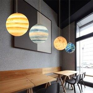 Image 3 - Nordic Criativo Universo Planeta Acrílico Luz Pingente Lua Sol Terra Marte Urano quarto de crianças quarto hunging lâmpada de Mercúrio