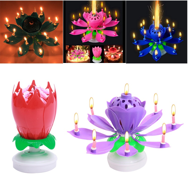 Hot New Birthday Candles Beautiful Musical Lotus Flower Happy Birthday Party Gift Rotating Lights Decoration Wedding Decoration.