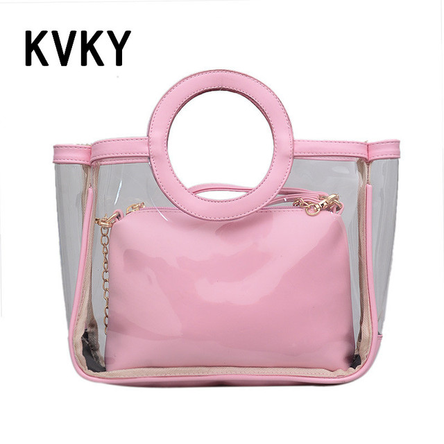 2017 Summer 3 Colors Women Leather Pu Purses And Clear Plastic Bag Handbags Chain Shell Transparent