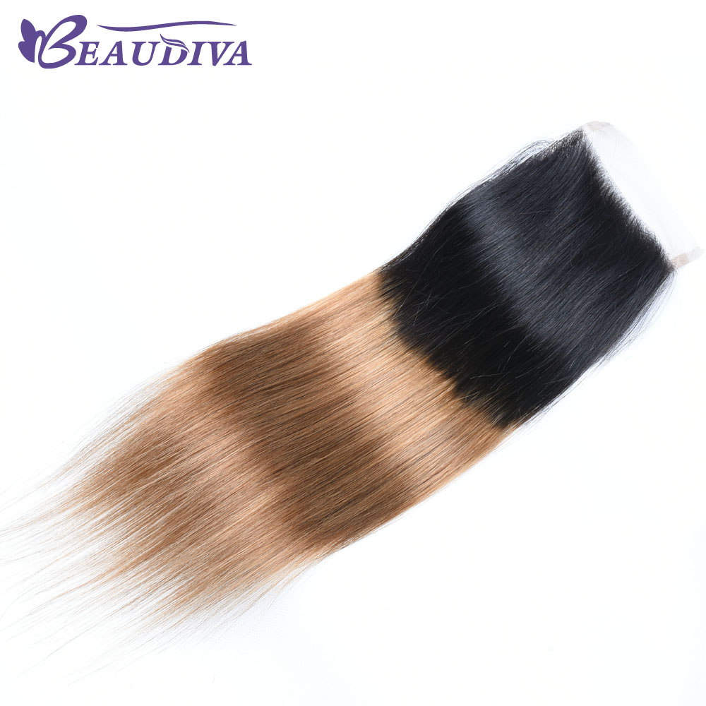 Beaudiva Pre-Colored Ombre Human Hair With Closure 4*4 Brazilian Hair Straight T1B/30 Dark Root