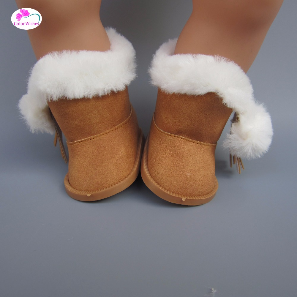 mini doll shoes Khaki Thick boots fit 43 cm baby born zapf dolls and American girl's Christmas present