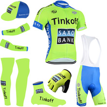 2016 fluorescence thikoff cycling jersey quick dry saxo cycling shirts bike shorts set gel pad cycle Maillot Culotte full set