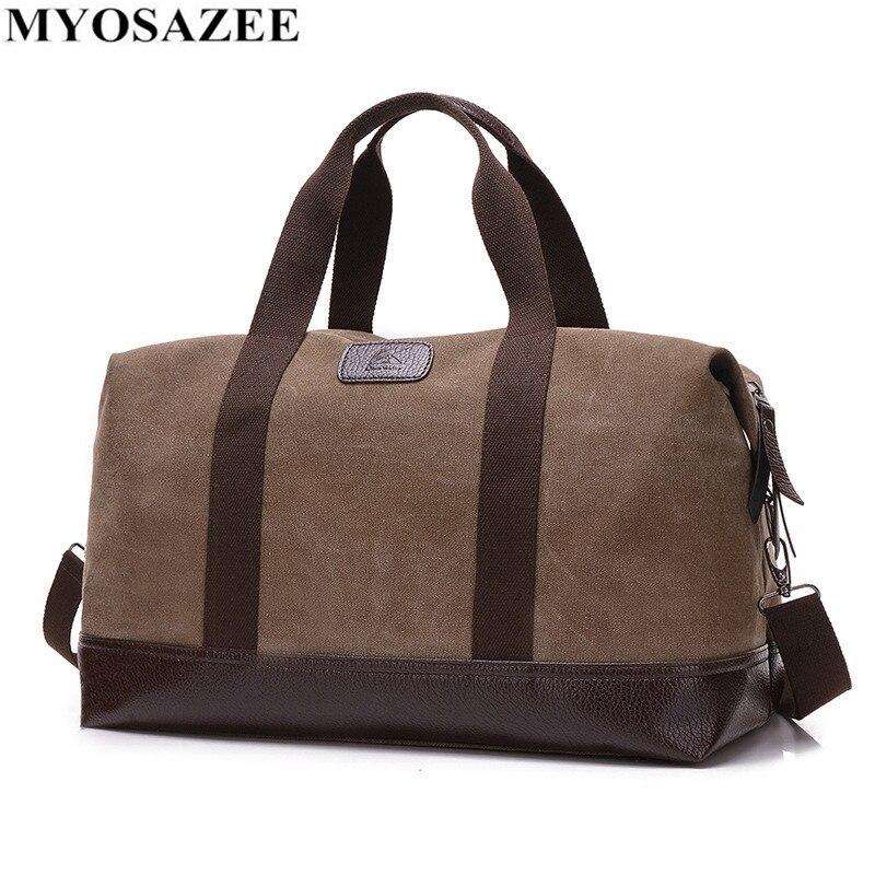 MYOSAZEE Men Vintage Canvas Men Travel Bag Large Capacity Handbags Women Weekend Carry On Luggage Bags