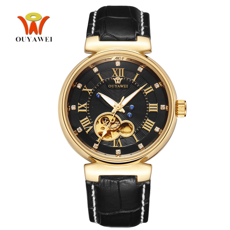 OUYAWEI Golden Mechanic Watch Men Automatic Genuine Leather Mens Luxury Watches Top Brand  Fashion Unisex Style montre homme mce top brand mens watches automatic men watch luxury stainless steel wristwatches male clock montre with box 335