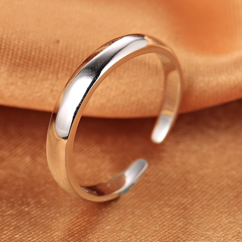 Hladký nastavitelný prsten s925 Standardní stříbrný dárkový kroužek na měsíc