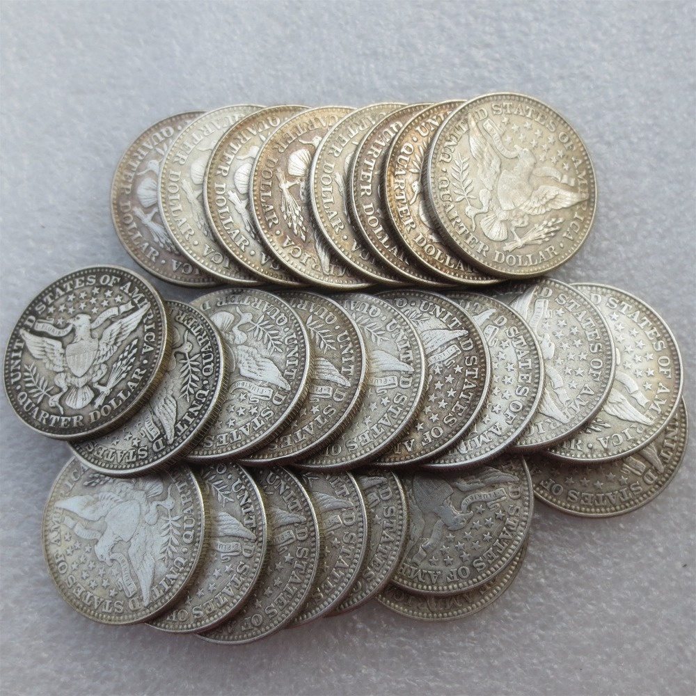 A set of 1892-1915 Barber Quarter Dollars 25pcs Mintmark: None Different Date Material Silver Plated or 90% Silve Copy Coin