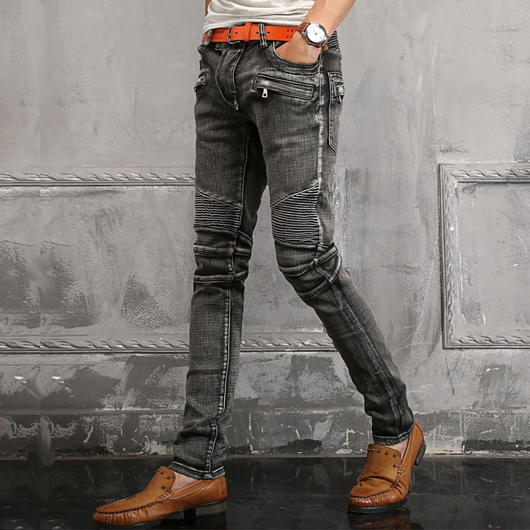 Fake Zippers Jeans Mens Patchwork Black Fashion Brand Straight ...