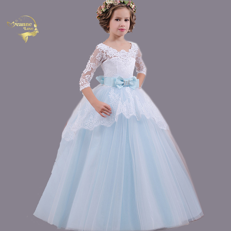 Flower     Girl     Dresses   for Weddings Scoop Neck Lace Tulle Backless Little Kids First Communion   Dresses   Beautiful Ball Gowns 2 4 6 8
