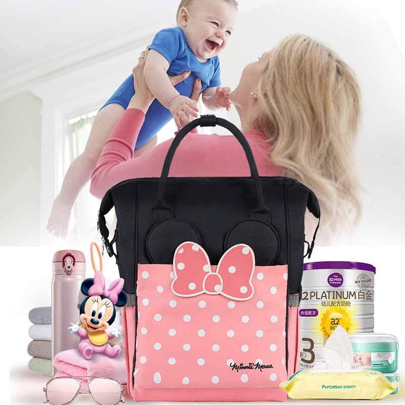 Authentic Disney Mommy Backpack Thermal Insulation Nappy Bag Large capacity Feeding Bottle Bag Diaper Bags with