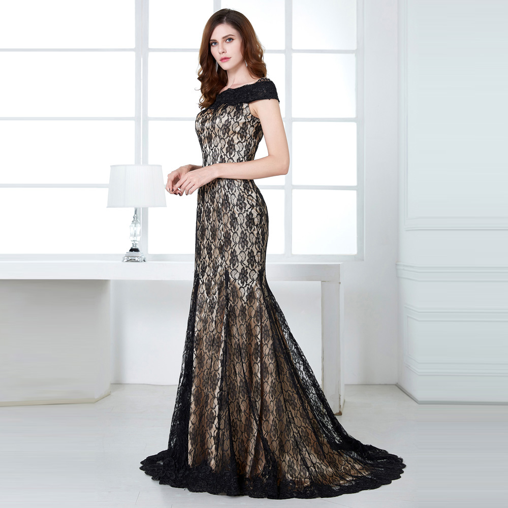 Boat Neck Lace Floor Length Mother Of The Bride Black Dress