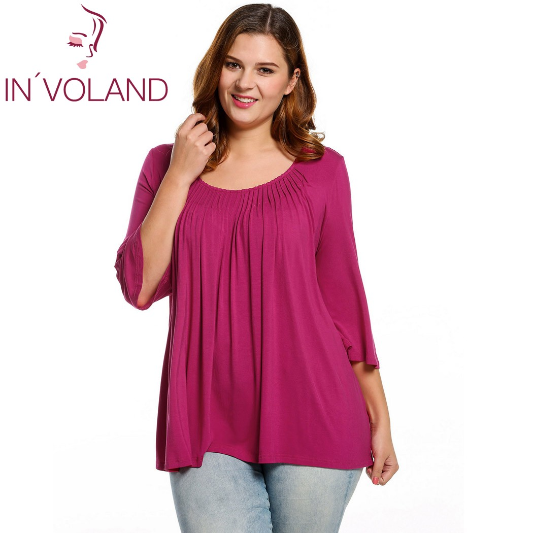 IN'VOLAND Kvinnor Bluse Blusa Plus Storlekar Casual Round Neck 3/4 Flare Sleeve Draped Pläterad Solid Feminino Blouse Top Oversize 4XL