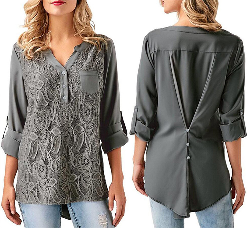 JOLINTSAI Embroidery Lace Chiffon Blouse Shirt Women Tops 2018 Casual Button Ruched Style Long Sleeve Ladies Top Plus Size 3XL