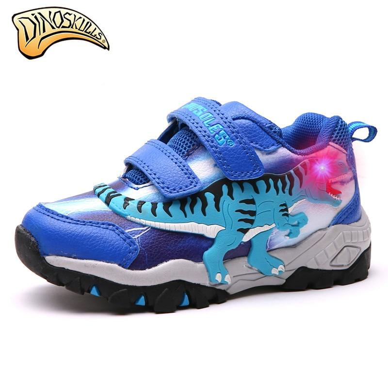 $32.10 Dinoskulls 2018 Boys Light Up Shoes Children's Glowing Sneaker Kids Luminous Sports Running Shoes Autumn Winter Dinosaur #27-34
