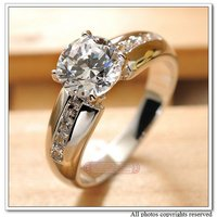 Lady S Alloy With18k White Gold Plated Rings Zirconia CZ Stone Wedding Rings Jewelry 2012 New