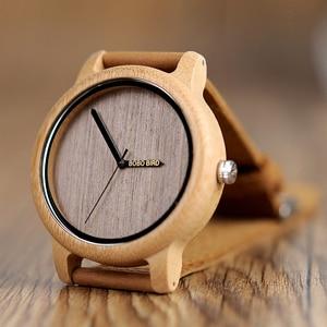 Image 4 - ボボ鳥ミニマリストの木腕時計メンズギフト腕時計女性レザーストラップ腕時計レロジオ masculino ドロップ無料