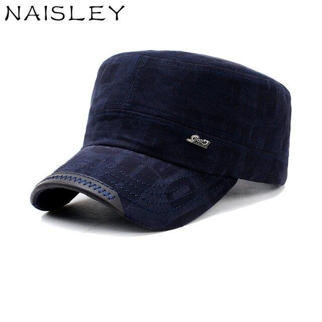 5b68ef80ba345c NAISLEY High Quality Classic Vintage Flat Top Military Hat Snapback Cap  Cotton Men Hat Soldier Hat Outdoor Sport Caps Army Cap