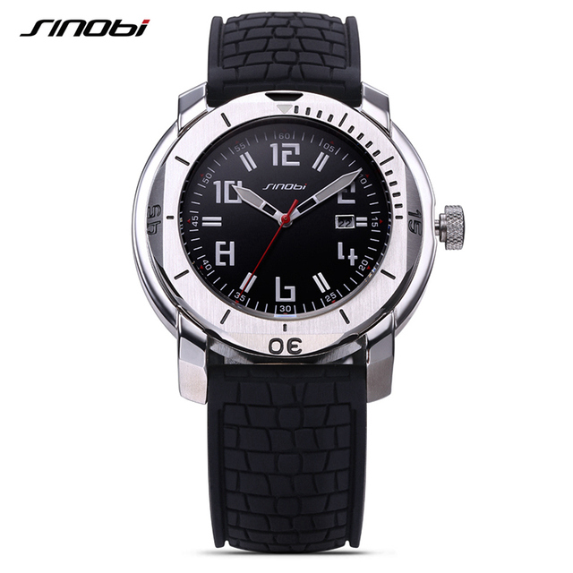 SINOBI Surfing Clock 10Bar Waterproof Watch Mens Sports Wristwatch Designer Branded Chronograph Male Spy Geneva Quartz-watch 007