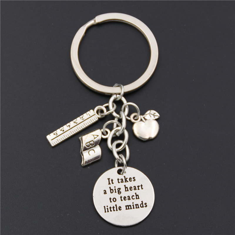 1pc Teacher Keychains It Takes A Big Heart To Teach Little Minds Keyring Key Ring Jewelry For Teachers Day Gift
